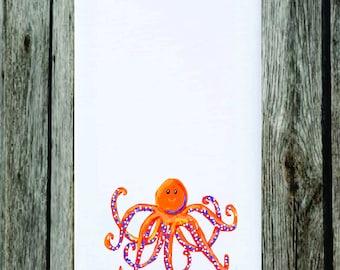 "Orange Octopus Dish Towel, Cartoon Octopus,Flour Sack,28""x28"",Can You Lend Me a Hand,Preppy Octopus,Tea Towel,Cute Harvest,Funny Towel"
