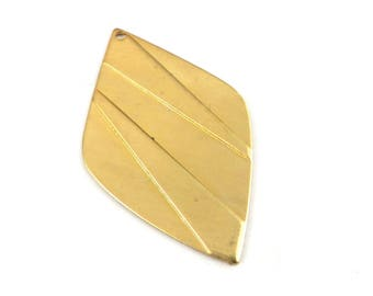 2 leaf pendant diamond texture print embossed brass raw 21mm x 38mm. PP-065
