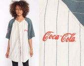 Baseball Jersey Shirt Coca Cola Shirt 90s Shirt Coke Shirt Button Up down 1990s Vintage Short Sleeve Large