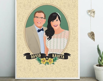 Custom wedding portrait, Couple portrait, Tattoos background with ribbon, Digital Illustration to print