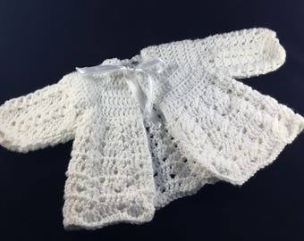 0-3 month Baby Girl White Crocheted Sweater, Premie Sweater, Christening, Baptism Sweater, Easter Sweater, READY TO SHIP