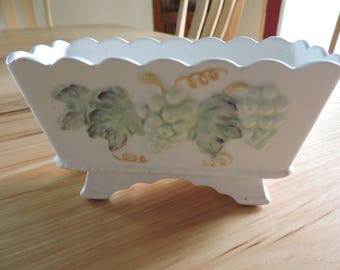 VIntage Ceramic Planter, Made in Japan Planter, VIntage Nad-Painted Planter with Grapes and Vines Detail, Small Hand-Painted VIntage Planter