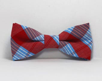 Red and Blue Plaid Little Boy's Bow Tie Bowtie Toddler Tie Ready To Ship