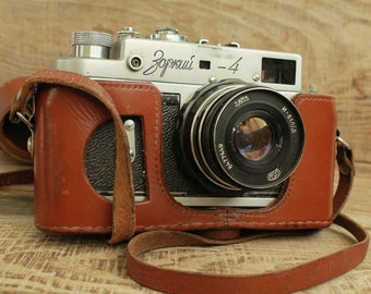 rare camera / collectible camera / rarity camera / Old Vintage Soviet  Camera Zorki - 4 with lens Industar / objective Industar - 61 L/D ""