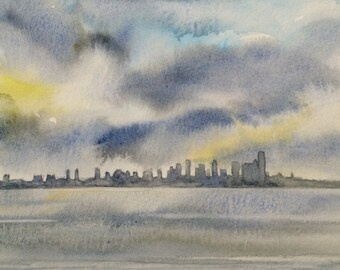 Seattle Skyline, Seattle, rain cloud art, West Seattle, storm clouds, Sky painting, cityscape, Pacific Northwest
