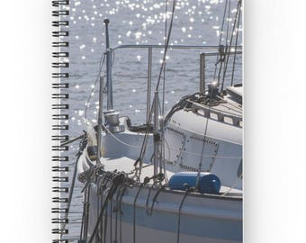 Sailing Gift for Sailor ~ Sailboat Notebook, Sailing Journal, Boating Gift, Nautical Guest Book, Sailboat Photo, Spiral Notebook, Guy Diary