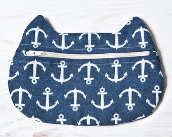 Blue Cosmetic Bag, Cat Bag, Nautical Makeup Bag, Cat Makeup Pouch, Nautical Accessory, Cat Lover Gift, Cute Pencil Case, Small Cosmetic Bag