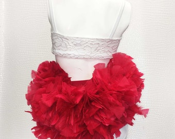Extra Small/Small Feather Bustle, Skirt, Red, Black, Festival Fashion, Rave, EDM, Costume, Concert, Dance.