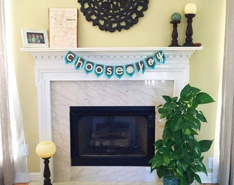 Choose Joy Bunting Banner Mantle Decor Housewarming Gift