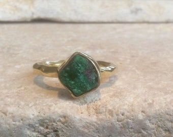 US 5, Raw Stone Ring, Raw Emerald Ring, Gold Vermeil Gemstone Ring, Rough Natural Gemstone, Rough Emerald Ring, Natural Gemstone Ring