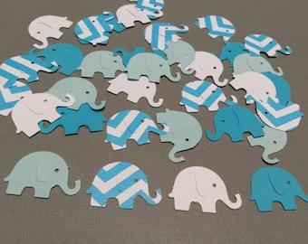 100 blue elephants- Hand punched elephant confetti