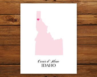 Idaho State Love Map Silhouette 8x10 Print - Customized
