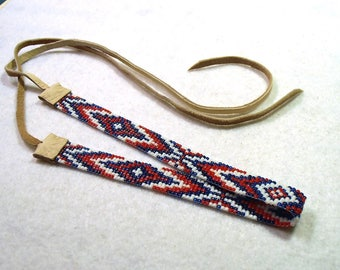 Red, White and Blue Choker, Seed Bead Choker, Choker Necklace, Native American Style, Deerhide Laces, Patriotic Jewelry, The Patriot