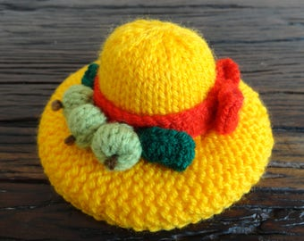 Autumn hat ornament or pincushion, Yellow, Red, Green, Knitted, Gift