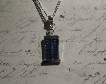 Dr. Who Necklace - Tardis Necklace - Police Box Necklace - Sterling Silver