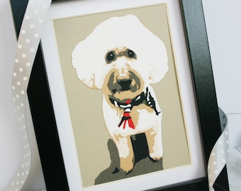 Dog Papercut Pet Portrait A6 - Custom Animal Paper Cut Portrait - Personalised Gifts For Pet Owners - Labradoodle - Cockerpoo - Poodle