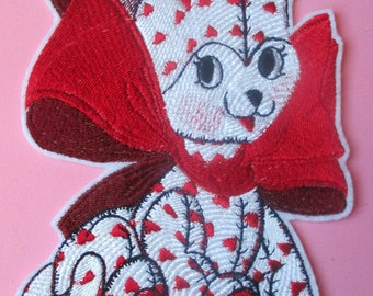 Embroidered Vintage  Red and White Kitty Valentine, Valentine's Day, Iron On, Sew On. Red Hearts, Quilts, Crafts, Clothing, Gifts. Cat
