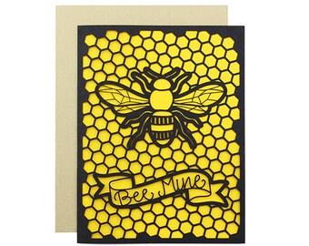 "Love Card - ""Bee Mine"" Laser Cut Card"