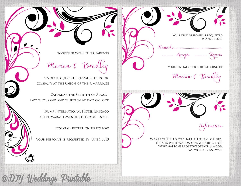 Wedding invitation template set Begonia pink & black