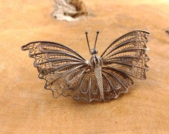 Big Butterfly Brooch - Filigree Silver - Vintage Costume Jewelry - Big Brooch - Animal - Nature