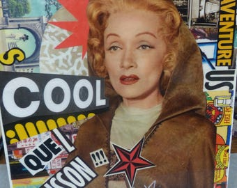 """Original collage, Collage on chassis and art collections, Marlene dietrich, Cool, adventure, thrill, resinated, Collage """"Marlène trippe"""""""