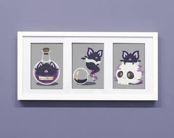 Bat Art, Poison the Bat 5x7 Print, Bat Print, funny print, cute print, Bat lover