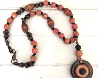 Wooden Bead Necklace -  Wooden Bead Pendant Necklace - Brown & Orange Wooden Beads - Handmade Wooden Bead Necklace - Wooden Bead Pendant -