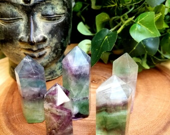 Rainbow Fluorite Crystal Points - Polished Crystal Points - Healing Crystals - Crystal Grids