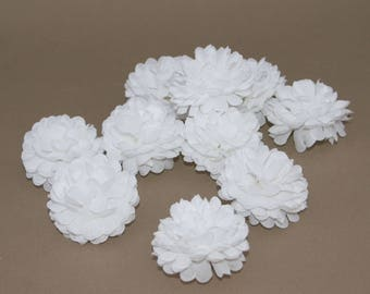 Pure White Blue Pom Pom Carnations - 25 count - Artificial Flowers, Silk Flowers