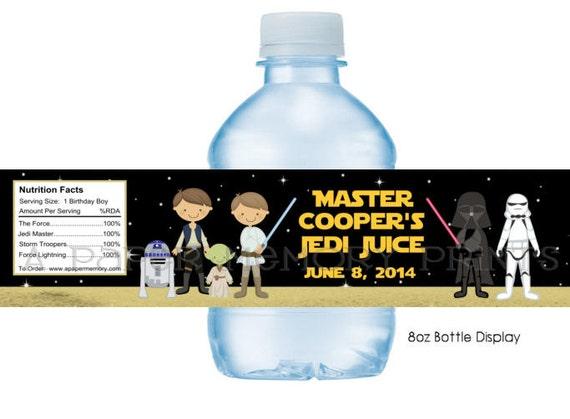 Star Wars Water Bottle Labels DIY Printable - 8 oz water bottle label template