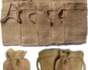 "5 BURLAP BAGS 4"" X 6"" - 10cm X 15cm Gift Bags Favor Bags Wedding Bridal Decor"