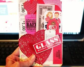 Valentine Inspiration Kit / Ephemera / 25+ Pieces / Daily Planner / Valentines Day / Junk Journal