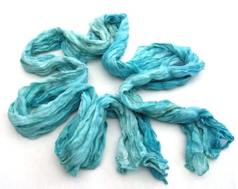 Blue long silk crinkle scarf hand dyed scarf bohemian style unisex accessory gift for him