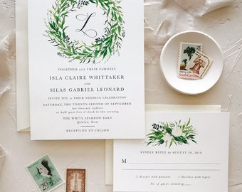 Greenery Wedding Invitation, Simple Wedding Invitation Set, Rustic, Watercolor
