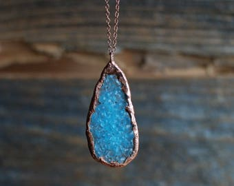 Recycled Bombay Gin Geode Teardrop Necklace | LIMITED QUANTITY