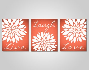 Coral Flower Wall Art   Live Laugh Love   Bedroom Dandelion Art   Coral  Decor   Coral Wall Art   DIY Printable Wall Art   Coral Wall Decor