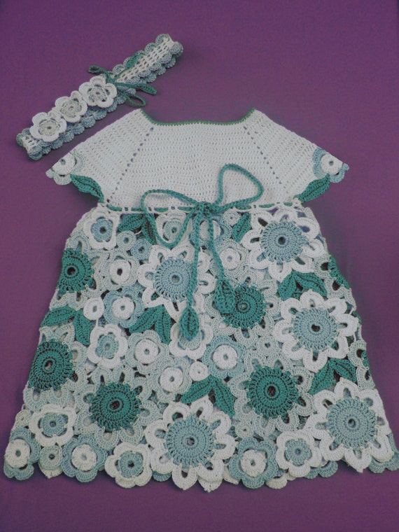 Flower Dress Irish Lace Crochet Pattern Size 1 Year Old And