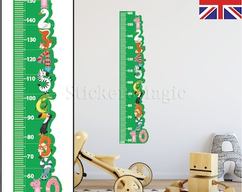 Height Growth Chart Wall Stickers NUMBERS Children Bedroom Decor Art Decals -  REMOVABLE Vinyl with CM measurements for Boys & Girls Uk