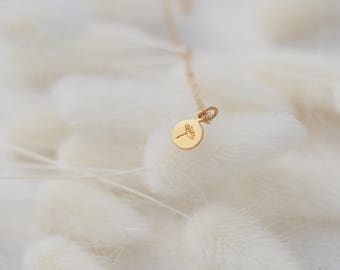 Tiny Dandelion Necklace, Dainty Gold Necklace, Available in Sterling Silver, Gold and Rose Gold