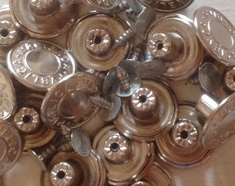 Silver Jean Buttons and fasteners (x 10 pack)