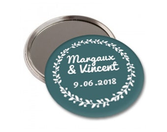 5 mirrors gift personalized wedding - diameter 56 mm - guest gift - Wedding, Bohemian chic, vintage