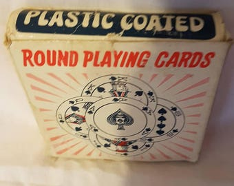 Vintage round playing cards No. 7007 made in Hong Kong plastic coated complete deck