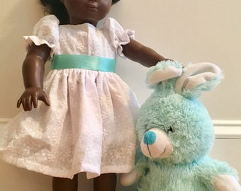 White Easter Dress with Aqua Sash and Headband - fits American Girl 18 inch doll