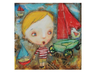 Original painting,He Wants To Go Sailing, mixed media art
