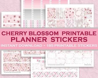 Cherry Blossom Printable Planner Stickers - 185 Printable Stickers - Pink & Gray - Instant Downloadable Letter Size PDF