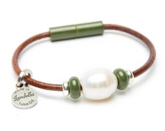 Olive Green Leather Magnetic Landella Freshwater Pearl Trio Bracelet