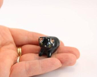 Miniature porcelain black kitty cat, wee ceramic clay black kitten, collectable black kitty cat figurine, terrarium, ready to ship