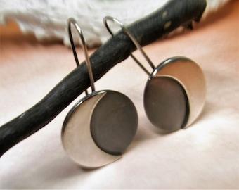 Large Sterling Silver Moon Earrings, Sterling Silver Earrings, Contemporary Dangle Earrings, Simple Moon Jewelry, Modern Minimalist Earrings