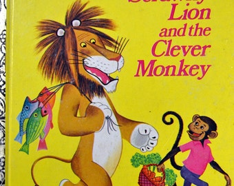 "Vintage Children's Book ""The Tawny Scrawney Lion and the Clever Monkey"" Little Golden Book  First Printing Last Minute Gift"