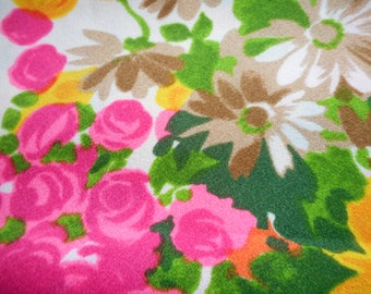Vintage 1960's, 70's Bright Hot Pink, Orange, Yellow-Orange Green Floral Coordinating Sheer and Crepe Fabric Lot of 2, 4 yards plus